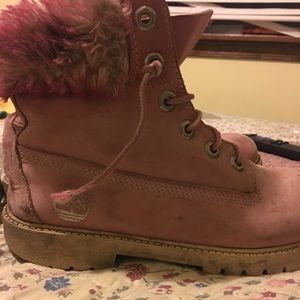 Pink fluffy Timberlands with the furrrr